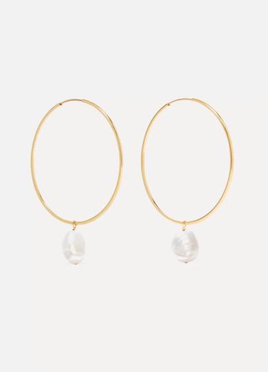 GRACE LEE 14-Karat Gold Pearl Hoop Earrings