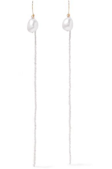 GRACE LEE 14-Karat Gold Pearl Earrings in White