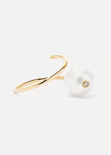 GRACE LEE 14-KARAT GOLD, PEARL AND DIAMOND RING