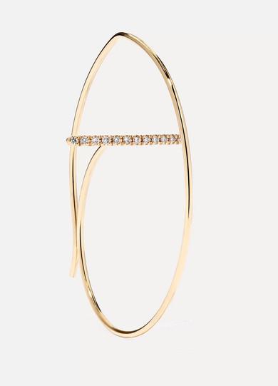 HIROTAKA 10-KARAT GOLD DIAMOND HOOP EARRING
