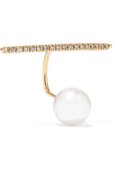 10-karat Gold, Diamond And Pearl Earring - one size Hirotaka