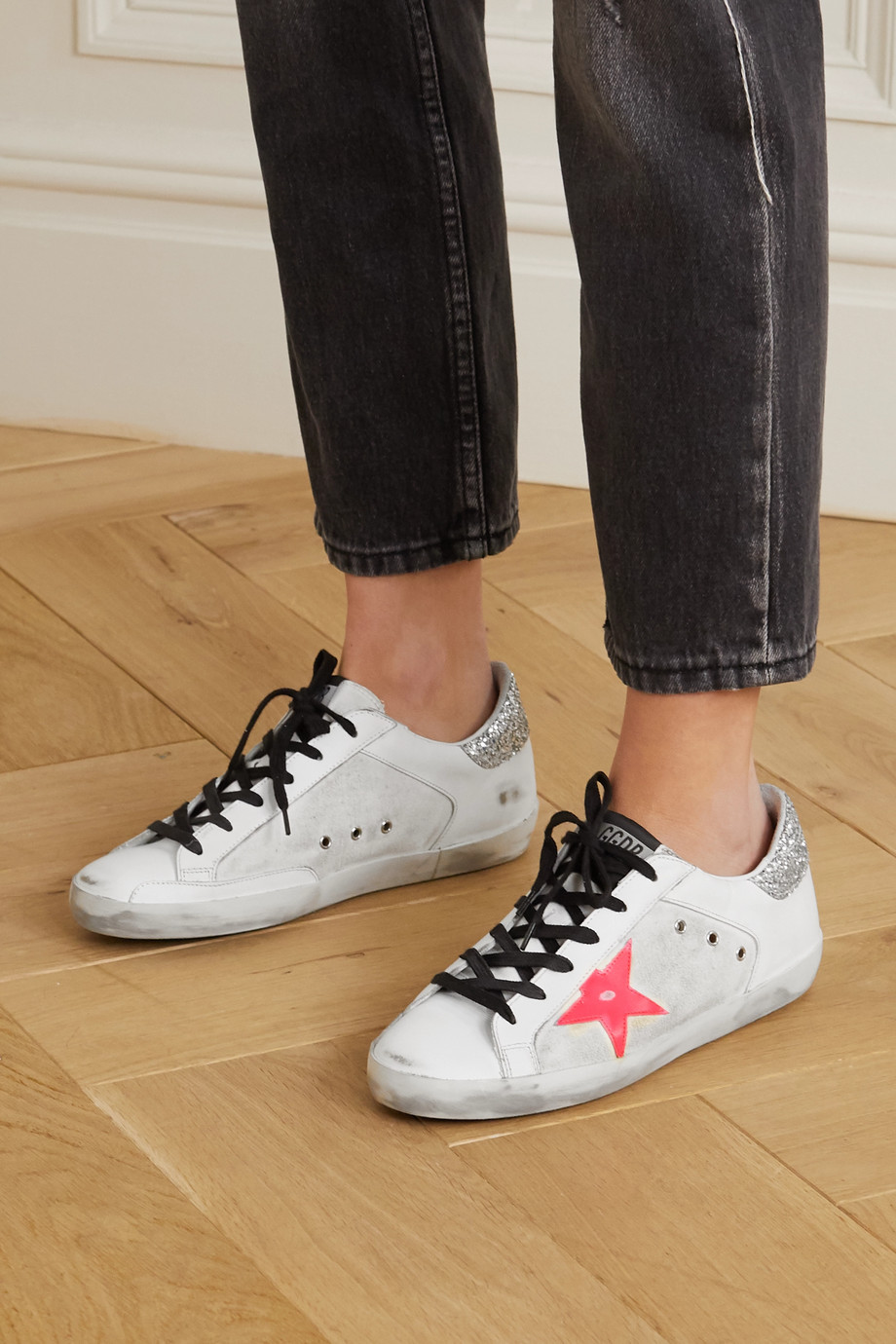 Golden Goose Superstar distressed glittered leather and canvas sneakers
