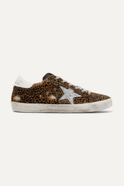 Superstar glittered leather and distressed leopard-print calf hair sneakers