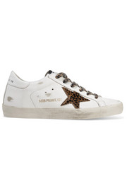 Golden Goose Deluxe Brand Superstar leopard-print calf hair and distressed leather sneakers