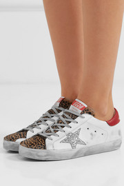 Superstar glittered distressed leather and leopard-print calf-hair sneakers
