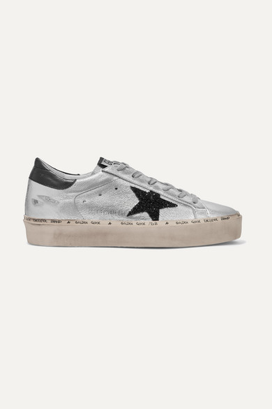 4ee1e7b729dc Golden Goose. Hi Star glittered distressed metallic leather platform  sneakers