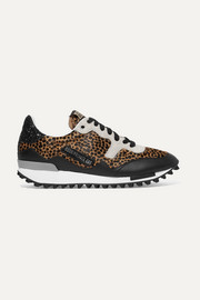 Golden Goose Deluxe Brand Starland glittered leather and suede-paneled leopard-print calf hair sneakers