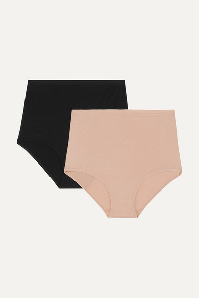 BASERANGE Set Of Two Stretch-Bamboo Briefs in Black