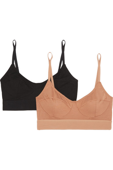 BASERANGE Set Of Two Stretch-Bamboo Soft-Cup Bra in Sand