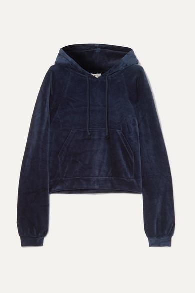 BASERANGE Ubera Organic Cotton-Velour Hoodie in Midnight Blue