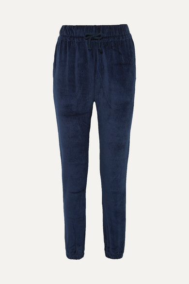 BASERANGE Al Organic Cotton-Velour Track Pants in Midnight Blue