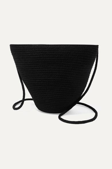 CATZORANGE Woven Cotton Bucket Bag in Black