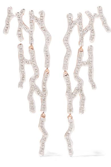 Monica Vinader - Riva Waterfall Rose Gold Vermeil Diamond Earrings