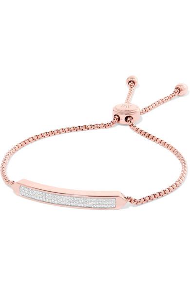 Monica Vinader - Baja Skinny Rose Gold Vermeil Diamond Bracelet