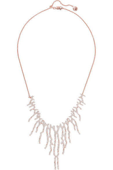 Monica Vinader - Riva Waterfall Rose Gold Vermeil Diamond Necklace