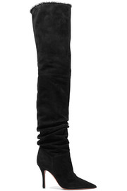 Amina Muaddi Barbara crystal-trimmed suede over-the-knee boots
