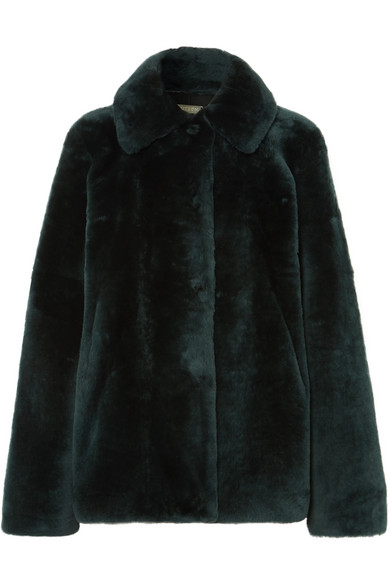 UTZON Reversible Shearling Jacket in Dark Green