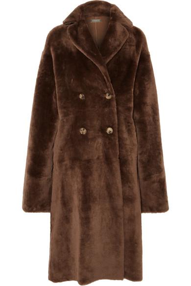 UTZON Oversized Reversible Shearling Coat in Brown
