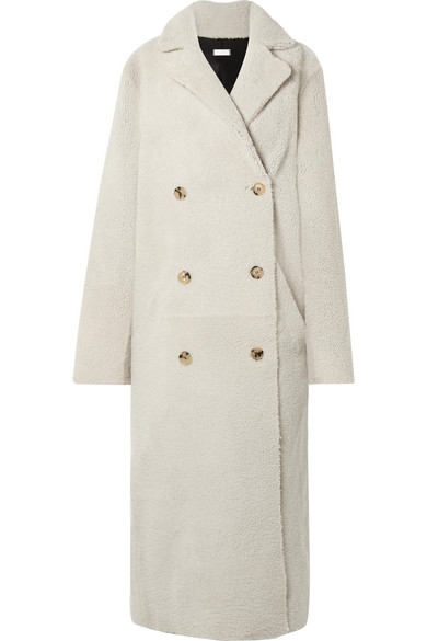 UTZON Reversible Double-Breasted Shearling Coat in White