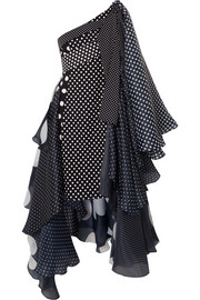 Richard Quinn Asymmetric polka-dot taffeta dress