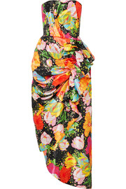 Richard Quinn Ruched floral-print taffeta maxi dress