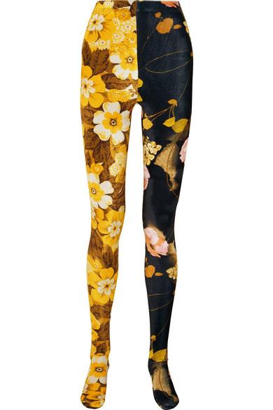 RICHARD QUINN Floral-Print Velvet Leggings in Black