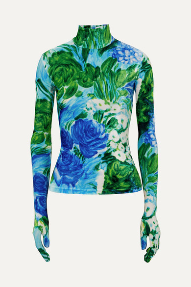 Richard Quinn - Floral-print Velvet Turtleneck Top - Azure