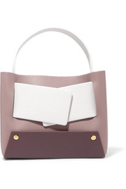 Dinky small color-block textured-leather tote
