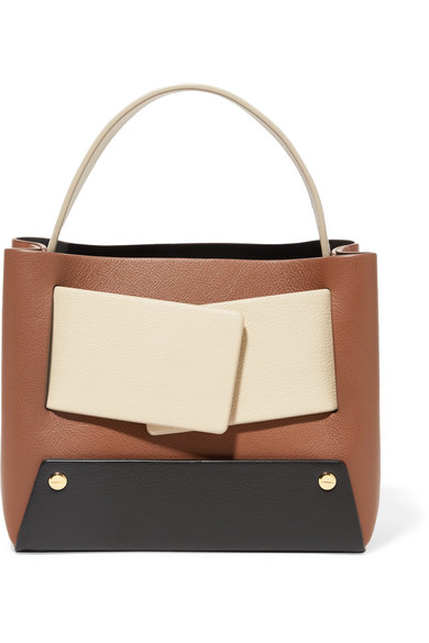 Dinky Small Color-Block Textured-Leather Tote, Brown