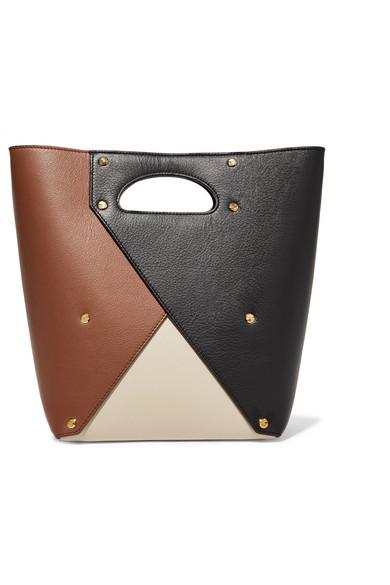 Pablo Medium Color-Block Textured-Leather Tote in Neutral