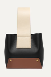 Tab small color-block textured-leather tote
