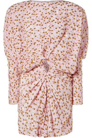 Dodo Bar Or Ida Dress.Embellished Draped Fil Coupe Chiffon Mini Dress