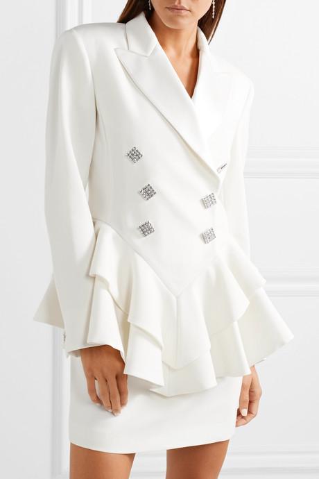 Crystal-embellished satin-trimmed wool-crepe peplum blazer