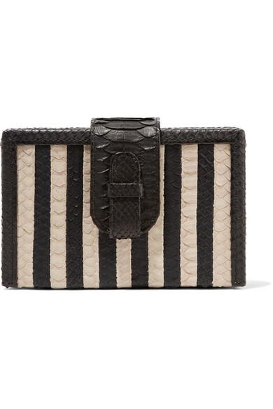 XIMENA KAVALEKAS Mandolin Striped Python Clutch in Black