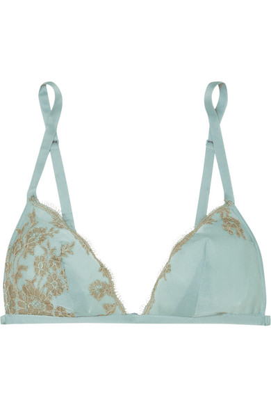 CARINE GILSON Chantilly Lace-Trimmed Silk-Satin Soft-Cup Triangle Bra in Sky Blue