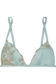 Chantilly lace-trimmed silk-satin soft-cup triangle bra