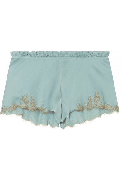CARINE GILSON Flottant Chantilly Lace-Trimmed Silk-Satin Shorts in Sky Blue