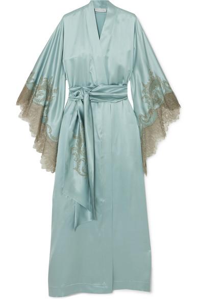 Chantilly Lace-trimmed Silk-satin Robe - Sky blue Carine Gilson Discount Best kancPaXL3A