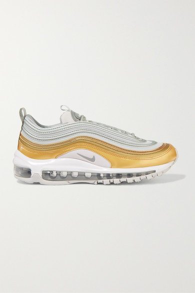 Air Max 97 Se Metallic Leather And Mesh Sneakers in White