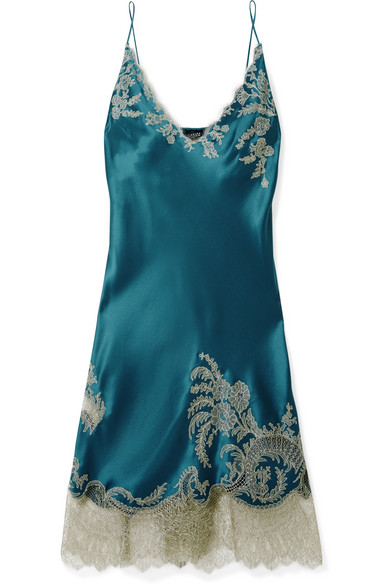 CARINE GILSON Chantilly Lace-Trimmed Silk-Satin Chemise in Petrol