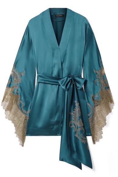 CARINE GILSON Chantilly lace-trimmed silk-satin robe