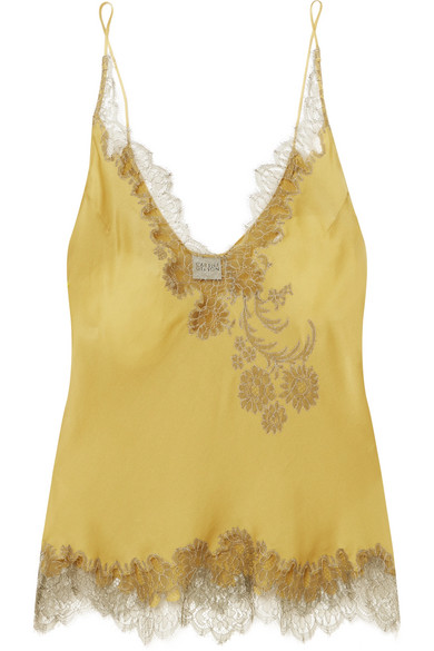 CARINE GILSON Chantilly Lace-Trimmed Silk-Satin Camisole in Mustard