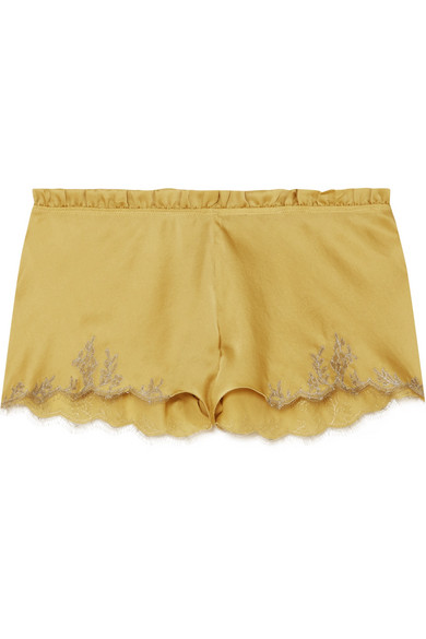 CARINE GILSON Flottant Chantilly Lace-Trimmed Silk-Satin Shorts in Mustard