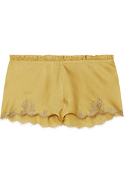 Flottant Chantilly lace-trimmed silk-satin shorts