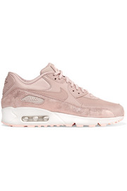 Nike Air Max 90 Premium cracked metallic-suede, leather and mesh sneakers