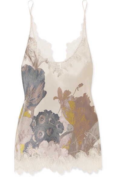 CARINE GILSON CHANTILLY LACE-TRIMMED FLORAL-PRINT SILK-SATIN CAMISOLE