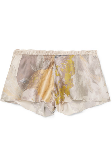 CARINE GILSON Flottant Floral-Print Silk-Satin Shorts in Blush