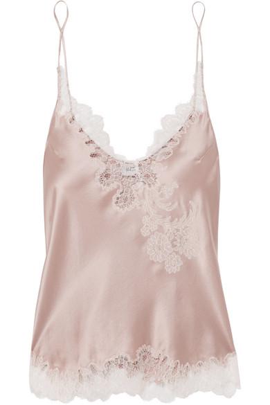 CARINE GILSON Chantilly Lace-Trimmed Silk-Satin Camisole in Blush