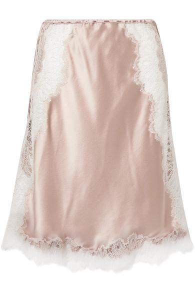 CARINE GILSON Chantilly lace-trimmed silk-satin slip skirt