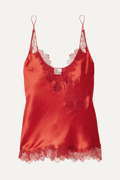 CARINE GILSON Chantilly Lace-Trimmed Silk-Satin Camisole in Red